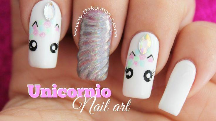 Decoración de uñas Unicornio - Unicorn nail art
