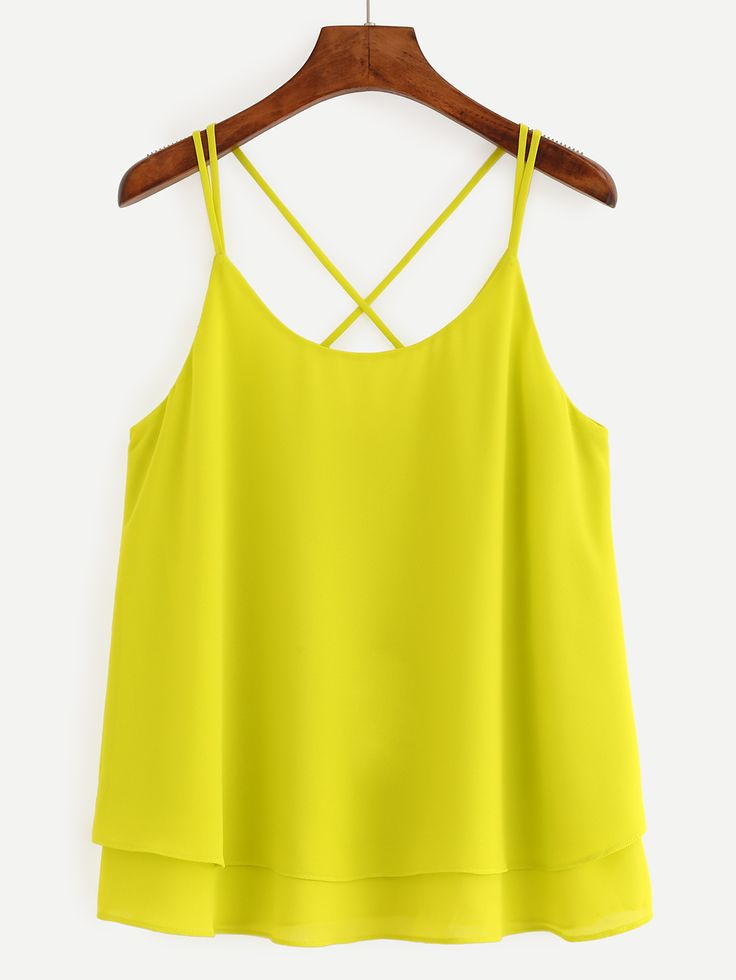 My favorite family cami style and fabric-but I can never find bold colors like this that fit. Often the neckline is too low bc I'm short...this is perfection. Crisscross Layered Chiffon Cami Top - Yellow