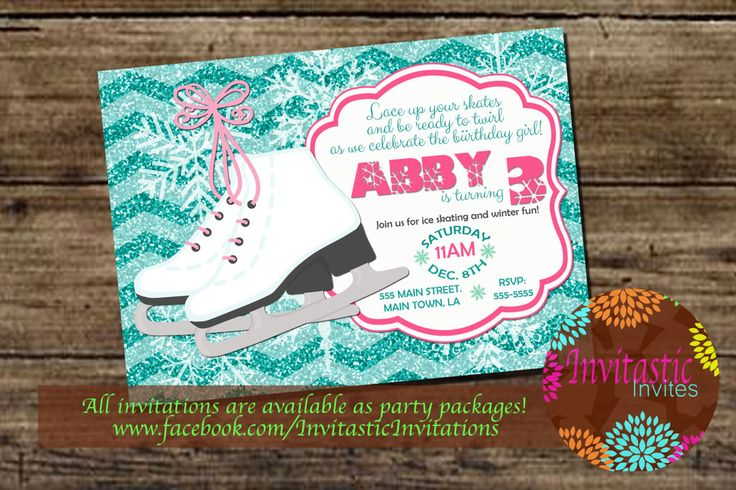 Ice Skating Birthday Party Invitation -Girls Glitter Chevron Winter Birthday Invitation - Winter Birthday Party theme -DIY or Print Packages by InvitasticInvites on Etsy
