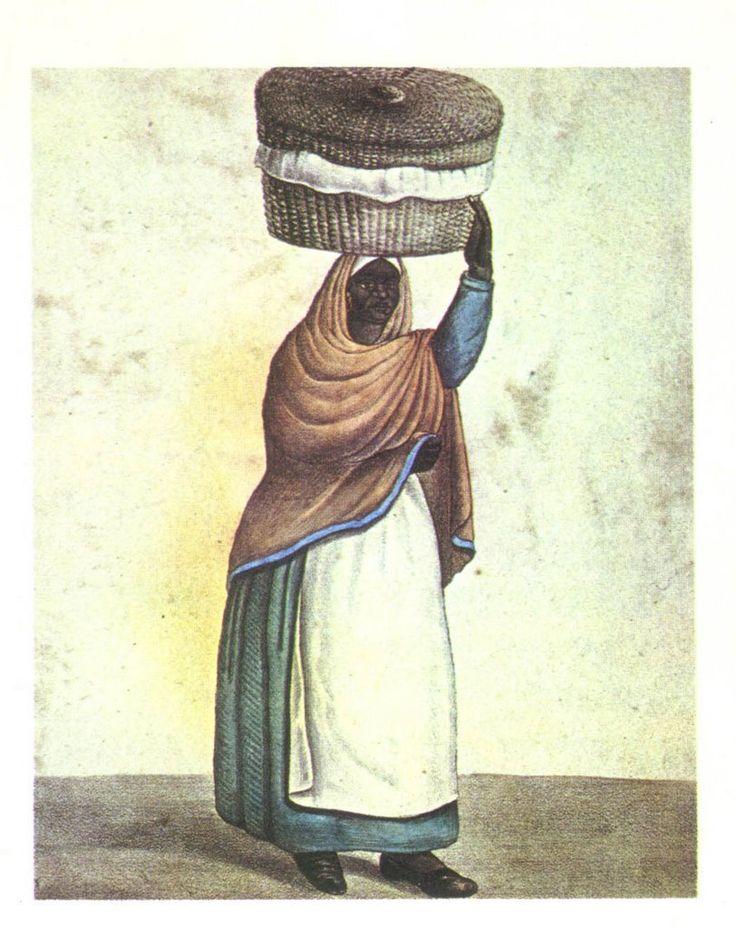 """""""La vendedora de tortas"""", litografía de Hipólito Bacle incluida en el álbum """"Trages y costumbres de Buenos Aires"""", 183"""