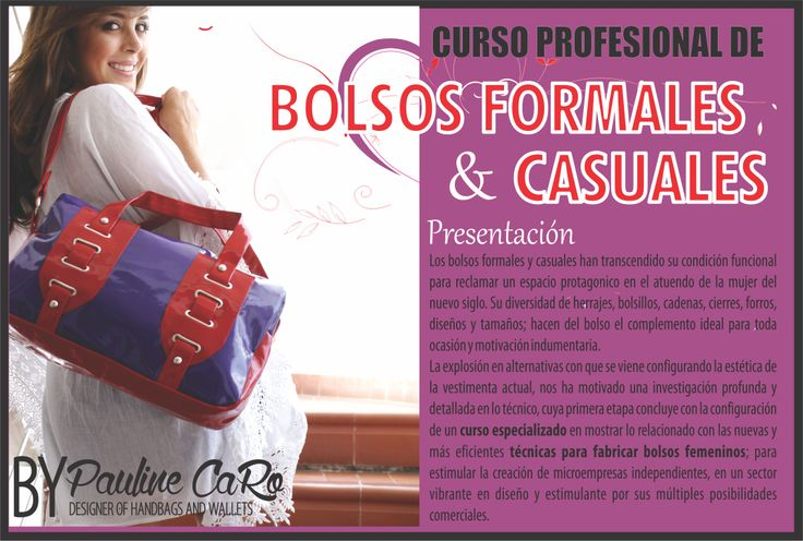 CURSO BÁSICO PROFESIONAL  DE BOLSOS FORMALES Y CASUALES . DE COLOMBIA PARA LATINO AMÉRICA APRENDE & EMPRENDE