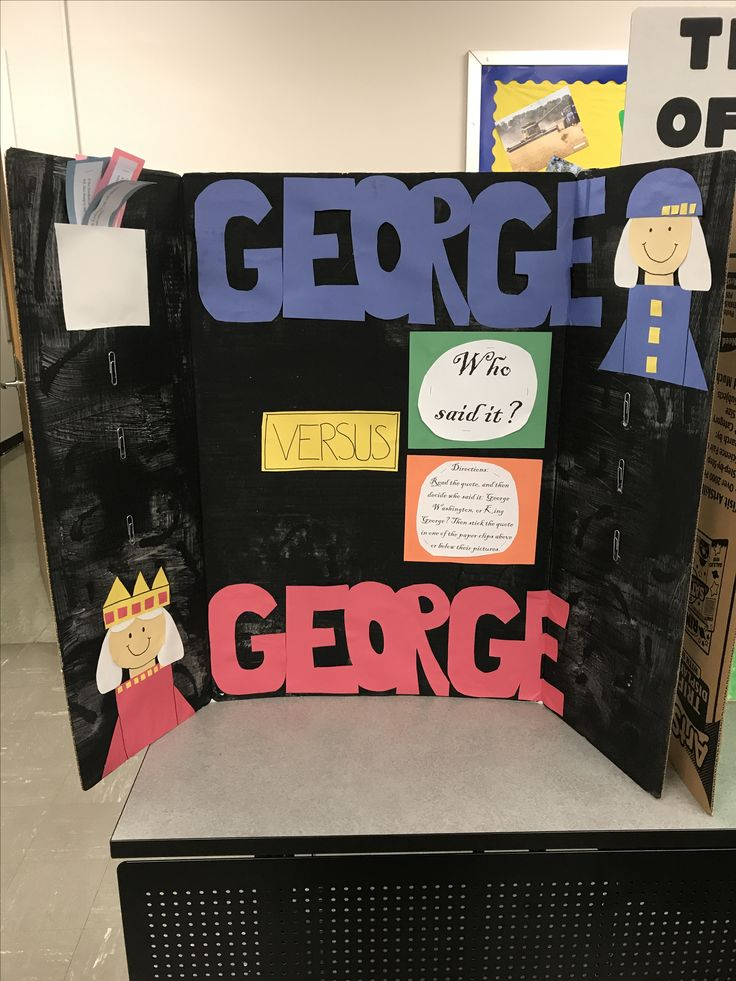 American Revolutionary War bulletin board. George Washington v. King George