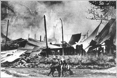 West Pakistani soldiers burnt down thousands of houses and shops in the then East Pakistan (later called Bangladesh) in 1971