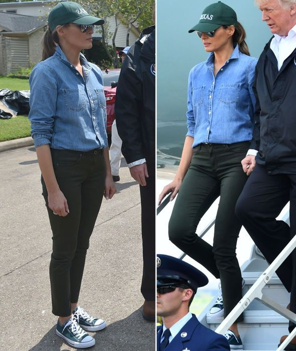 Melania Trump in Houston, Texas immediately after the damages resulting from Hurricane Harvey . . . (August 2017)
