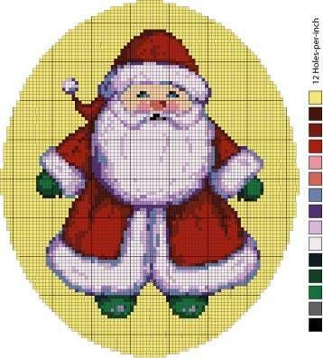 Santa Needlepoint Pattern - Instructions for Santa Needlepoint Pattern. Or cross stitch.