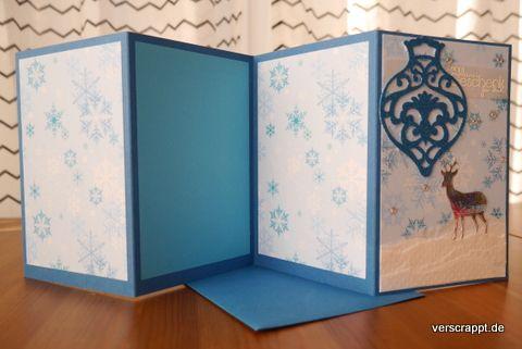 Weihnachtskarte-Weihnachten-Karte-Leporello-Rentier-Ornament-Xmas-Kugel-Schnee-silber-weiß-blau-hinten