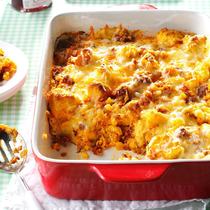 Mexican Sausage & Corn Bread Strata Recipe -The beauty of my Mexican strata is that you can change it depending on the veggies you have on hand. I make mine most often with corn and pico de gallo.—Lisa Huff, Wilton, CT