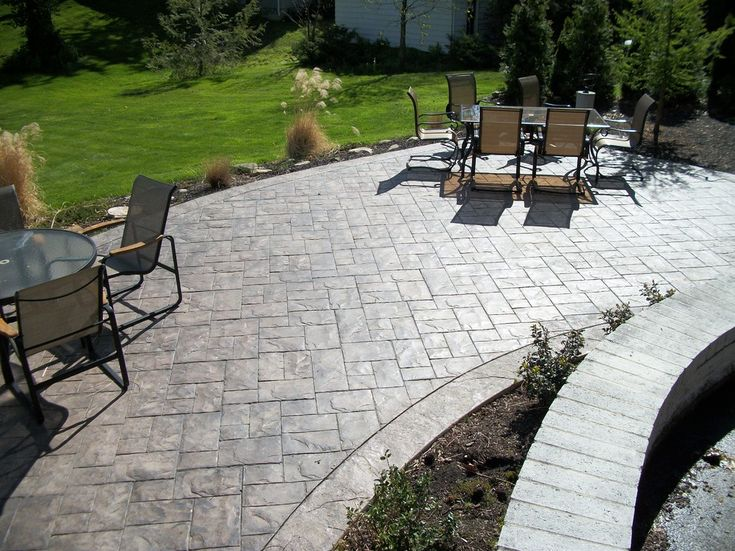 top materials for patio using stamped concrete patio ashlar slate and fordson concrete in traditional - Patio Materials