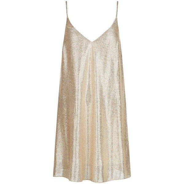 New Look Gold Metallic Pleated Slip Dress ($30) ❤ liked on Polyvore featuring dresses, gold, metallic cocktail dress, metallic dress, v neck dress, gold mini dress and holiday party dresses