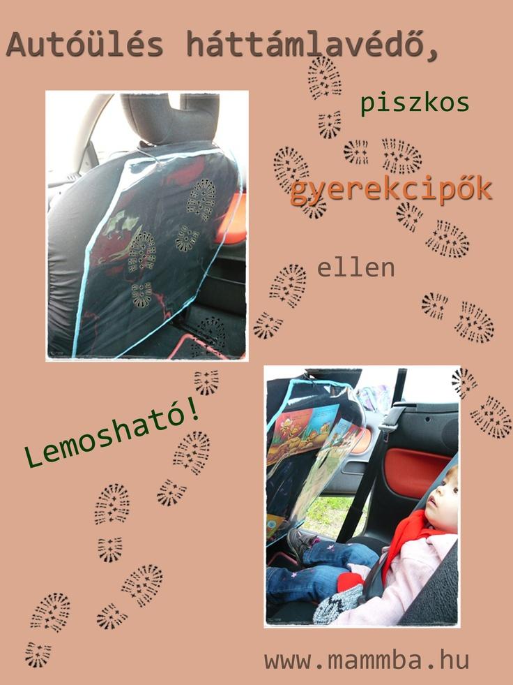 Autóülés háttámlavédő, piszkos gyerekcipők ellen/Car seat's back protector against muddy kids' shoes
