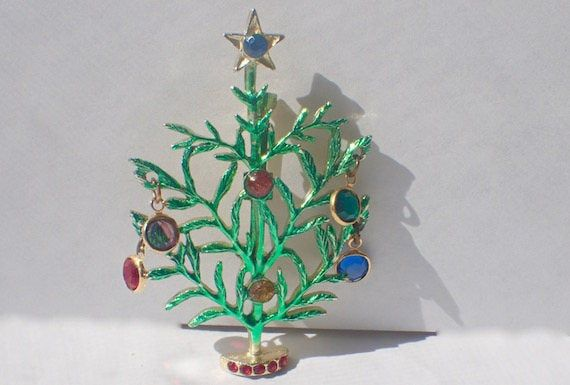 Charlie Brown Christmas Tree Pin Dangling Bezel Set Crystals Enamel Book Piece Charlie Brown Christmas Tree Charlie Brown Christmas Christmas Tree