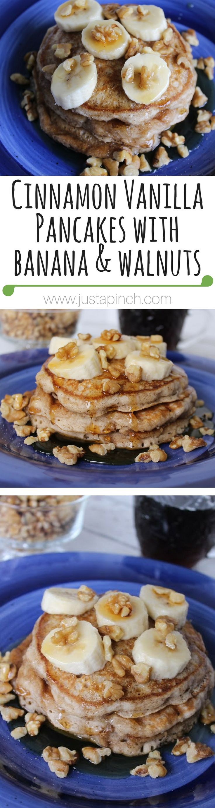 Cinnamon Vanilla Pancakes with Banana & Walnuts | These pancakes will even please picky eaters. This is an easy go-to pancake recipe that requires very little work but looks very impressive.