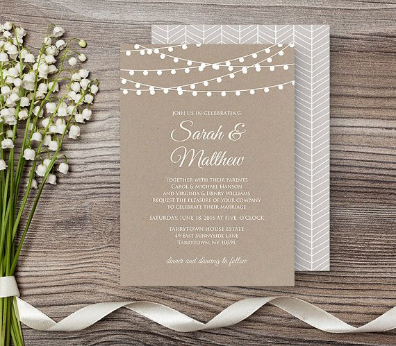 Wedding Invitation Template, Rustic Kraft String Lights Invite, DIY, Printable, Instant Download, Editable PDF Template, Digital  #014C