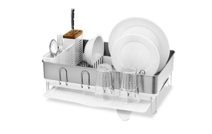 Simplehuman Dish Drying Rack | Remodelista Simplehuman Steel-Frame Dish Rack is $69.95 from Williams-Sonoma.
