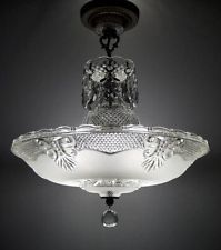 LARGE VINTAGE ART DECO CRYSTAL GLASS CHANDELIER ANTIQUE CEILING LIGHT FIXTURE