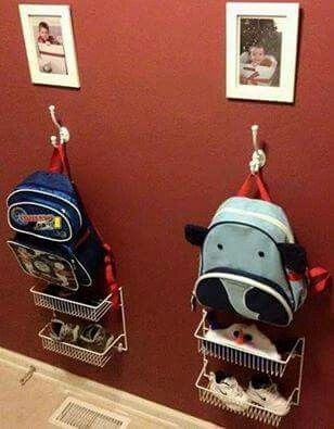 Great idea for kids backpacks, books, and shoes.