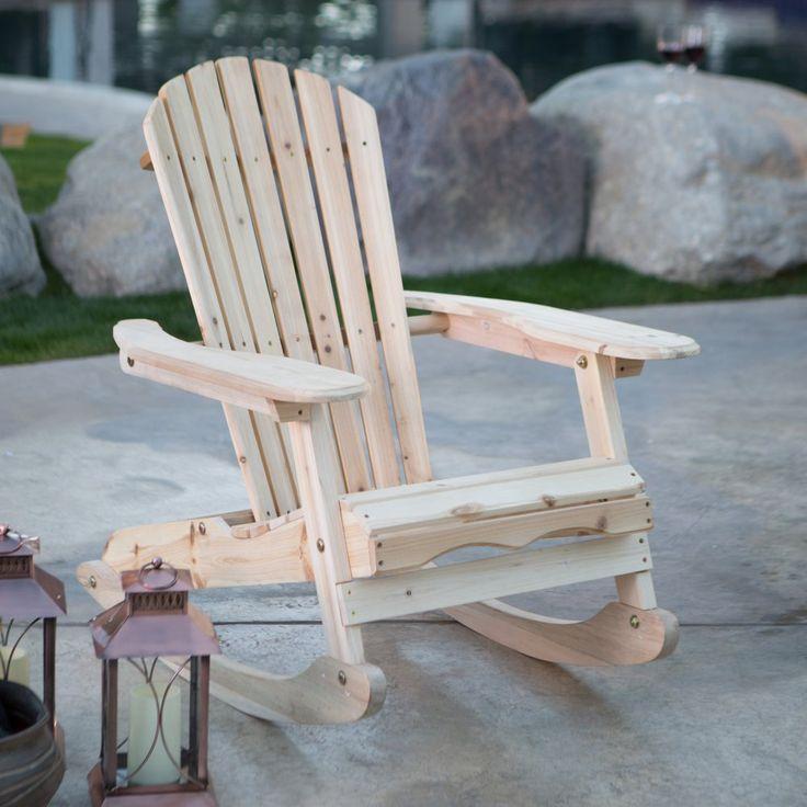 Coral Coast Adirondack Rocking Chair - Natural - Outdoor Rocking Chairs at Hayneedle