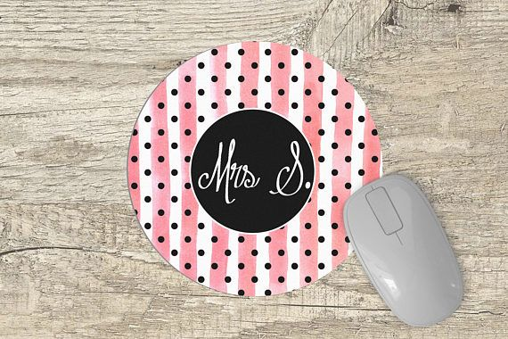 Monogram Mouse Pad  Round