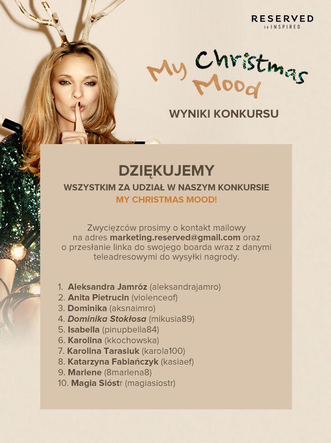 Zwycięzców prosimy o szybki kontakt, chcemy  aby Wasze prezenty doszły pod choinkę! :)