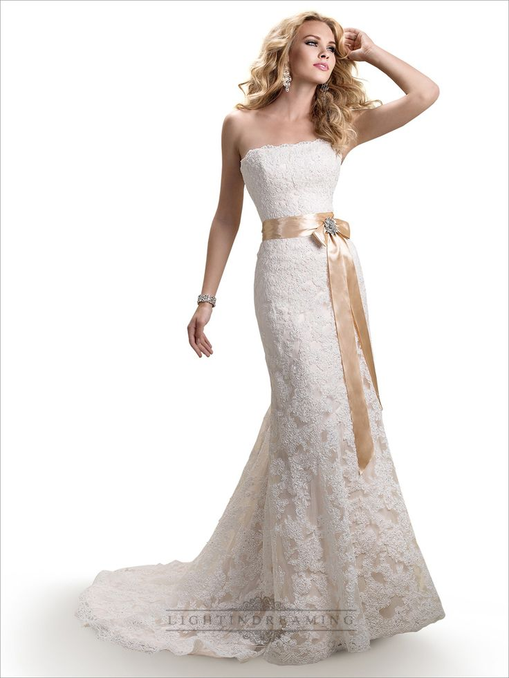 Strapless Slim A Line Lace Wedding Dresses With Satin Ribbon Waist Laurelridgecc Weddingdresses