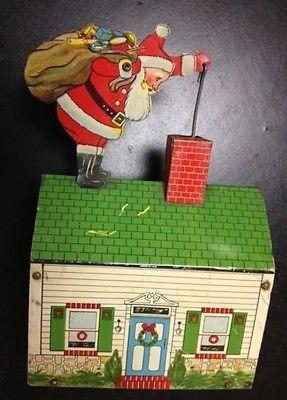 Vintage Criterion Electric Christmas Tin Litho Santa on Tin House Bell Ringer