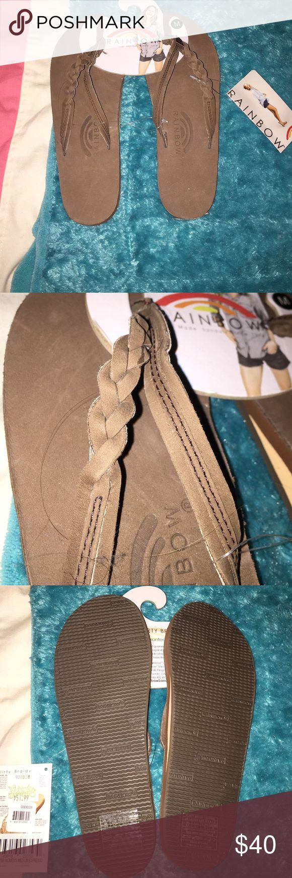 Woman's Rainbows flipflops! ! Medium! 6 1/2-7 1/2 Women's rainbows! Size medium! 6 1/2- 7 1/2 size! Braided! Come with the tags! Never worn! 🌈❤ price can be negotiable Rainbow Shoes Sandals