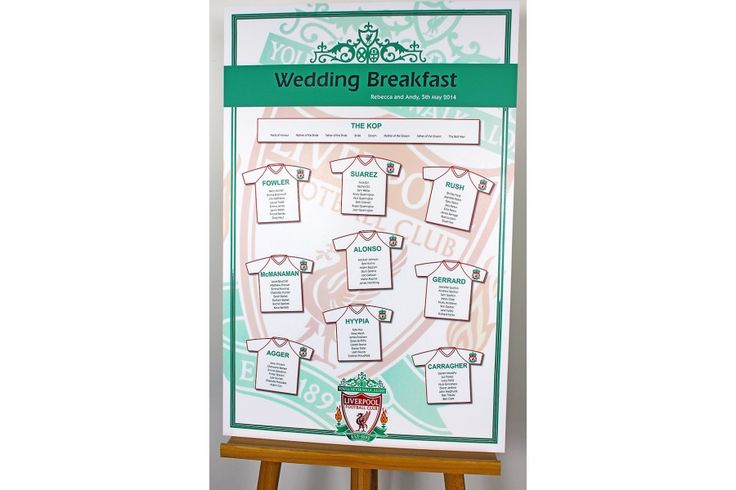 Liverpool FC wedding table plan design with matching table stationery