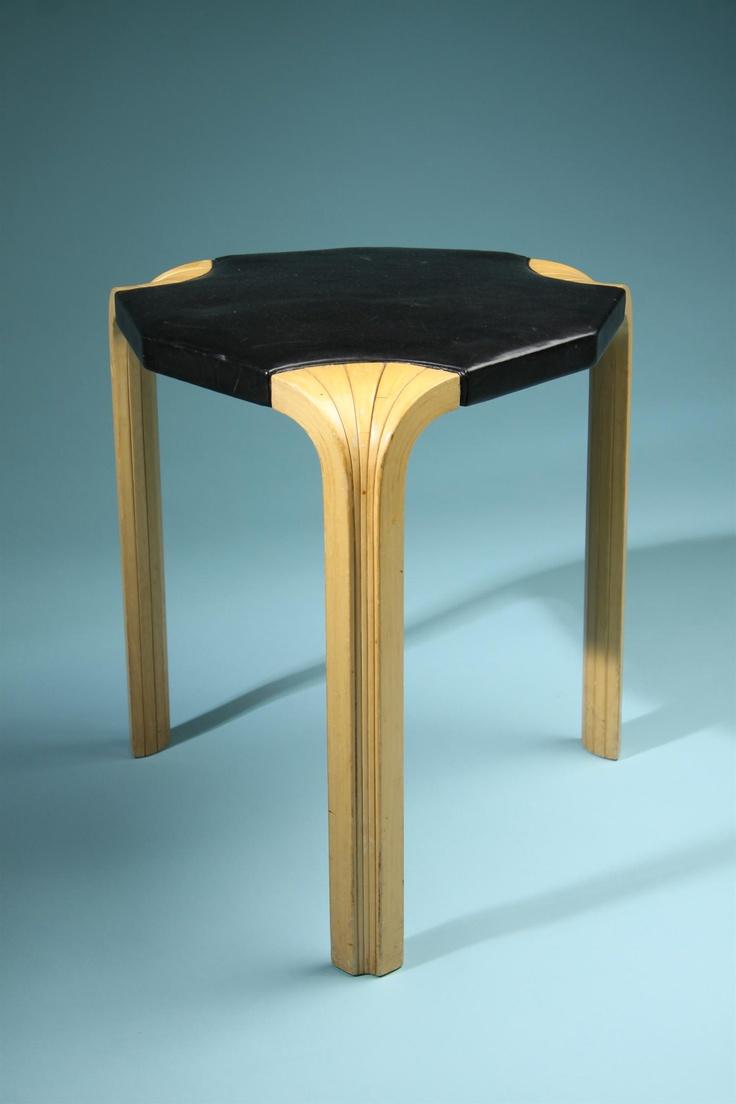 Stool, Fan leg stool. Designed by Alvar Aalto for Artek
