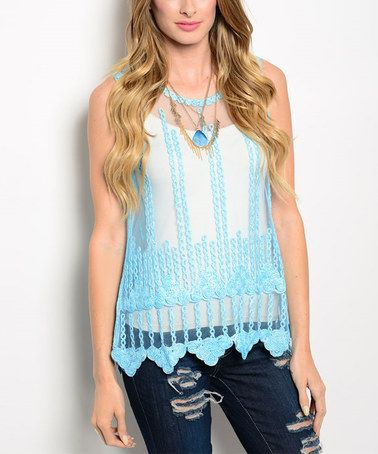 Look what I found on #zulily! Blue Sheer Top #zulilyfinds