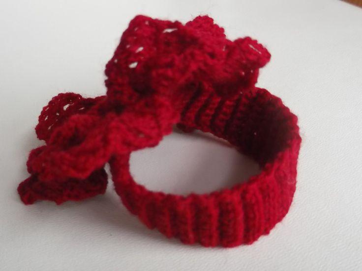 """Crochet bracelet , large flower red, flower diam. 3.5"""" (9 cm) by Dannaki on Etsy"""