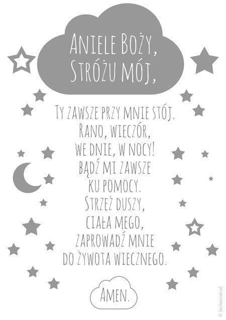 Czarno biały i szary plakat z modlitwą Aniele Boży ⋆ lecibocian.pl