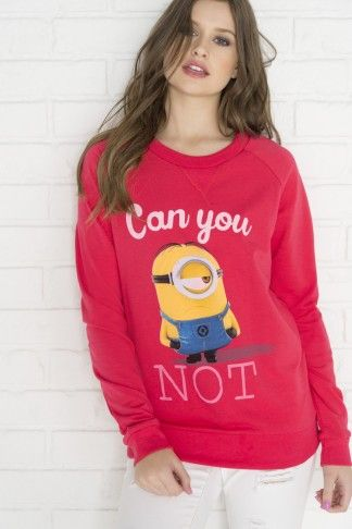 Graphic Can you not Minion sweatshirt in strawberry - Clothing