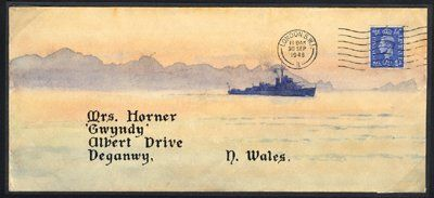 ¤ hand painted illustrated envelopes from the same correspondence to North Wales, showing a water colour scene of an ocean going battle ship. 1948-49