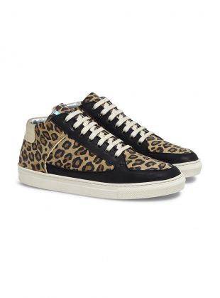 Young British Designers: Leopard Simmy Mid-Top Sneakers by Rose Rankin - Leopard print is always on-trend and adds a sense of fashion fun to black and grey days.