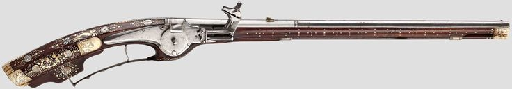 """http://www.hermann-historica.de/auktion/hhm66.pl?f=NR_LOT&c=%20%2025&t=temartic_S_GB&db=kat66_s.txt  A Silesian wheellock petronel, circa 1630   Smooth two-stage barrel in 13 mm calibre, octagonal then round, with iron front sight and brass rear sight. At the breech a silver-filled mark """"HS"""" above heart (Stöckel no. 3112). Smooth wheellock with mark on the inside """"MS"""" (Stöckel no. 4044). Walnut full stock, lavishly inlaid with bone and engraved mother-of-pearl, with bone nose. On the cheek…"""