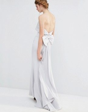 Jarlo Wedding Overlay Maxi Dress with Fishtail and Oversized Bow Back