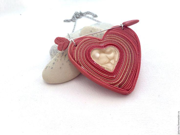"""Купить Кулон подарок на святого Валентина сердце """"Сердце для Купидона"""" - ярко-красный, коралловый"""