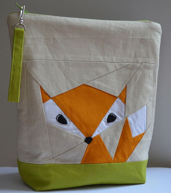 Paper Pieced Fox Pouch made by Jen Johnston (with links to pouch and paper piecing patterns)