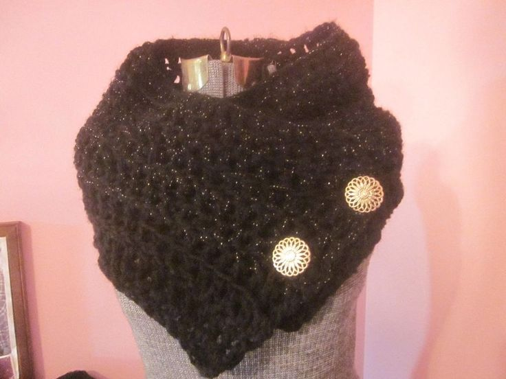 Black Scarf Cowl Boston Harbor Gold Thread & Fancy Filigree Buttons Large Soft