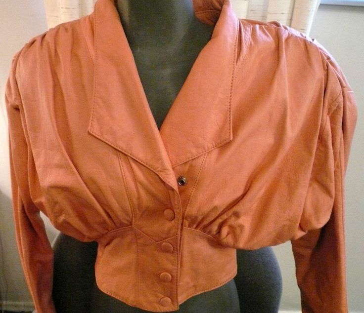 Womens Vintage CHIA Leather Jacket 1980s Peach Light Orange Cropped Bolero S