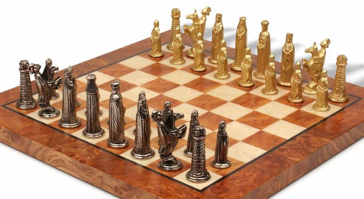 Bookshelf Small Medieval Brass Chess Set Package - The Chess Store