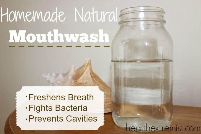Homemade Natural Mouthwash, water, coconut oil, pinch of sea salt, essential oils, baking soda (optional). Bam! Healthy & fresh mouth.