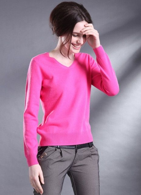 2017 new sweater women V-neck cashmere sweater female wool pullover genuine  solid color special shirt Slim sweater