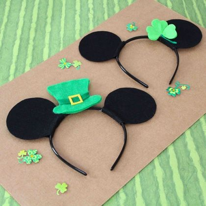 These Mickey and Minnie shamrock headbands are earmarked for young Disney fans to celebrate St. Patrick's Day in fine Irish style. | [ http://family.disney.com/craft/mickey-minnie-st-patricks-day-headbands ]