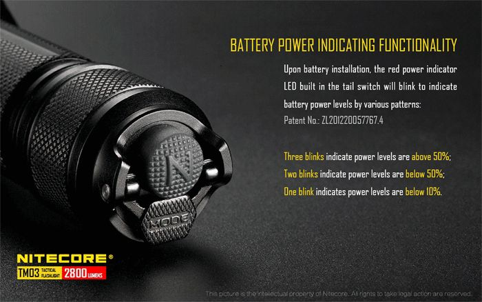 Nitecore TM03 XHP70 2800LM Tactical LED Flashlight With 18650 Battery