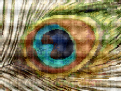 Peacock Feather Cross Stitch Pattern 738 shipping Emailed in PDF. @Mary Spence