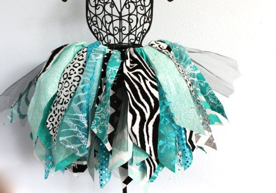 Turquoise Tutu / Teal Tutu / Zebra Tutu / Cheetah Tutu / Scrap Fabric Tutu / Lace Tutu / Tulle Tutu / Hair Clip / Hair Accessory on Etsy, $27.00