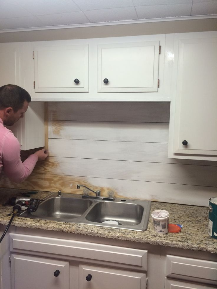 Here's an easy, inexpensive backsplash idea. DIY shiplap for cheap!