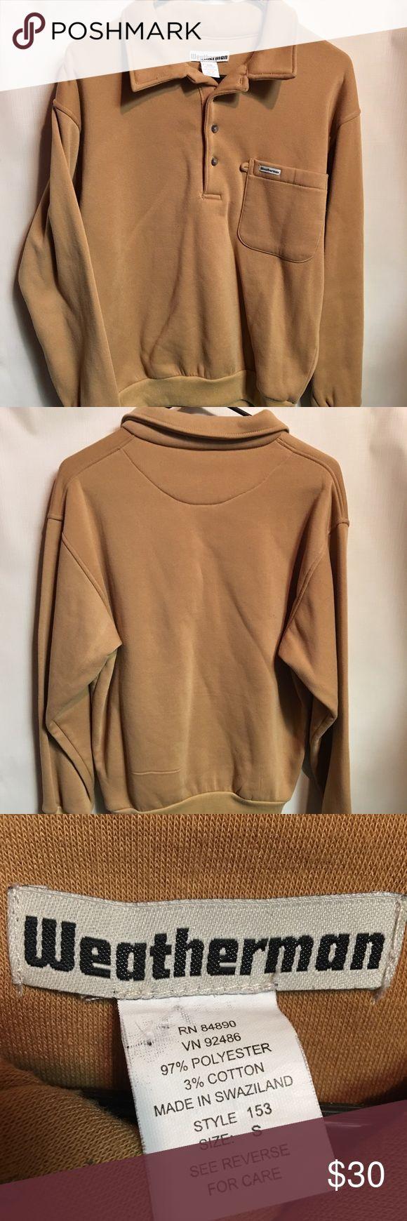 Vintage 80's Men's Small Sweatshirt Vintage Tan Men's Small Button Up Pocket Polo Sweatshirt. In excellent condition with no major flaws Vintage Shirts Sweatshirts & Hoodies
