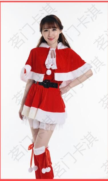 Christmas Costume Cosplay Dancing Party Catwoman Clothes Hooded Short Dress Hat Suit Adults Women's Clothing